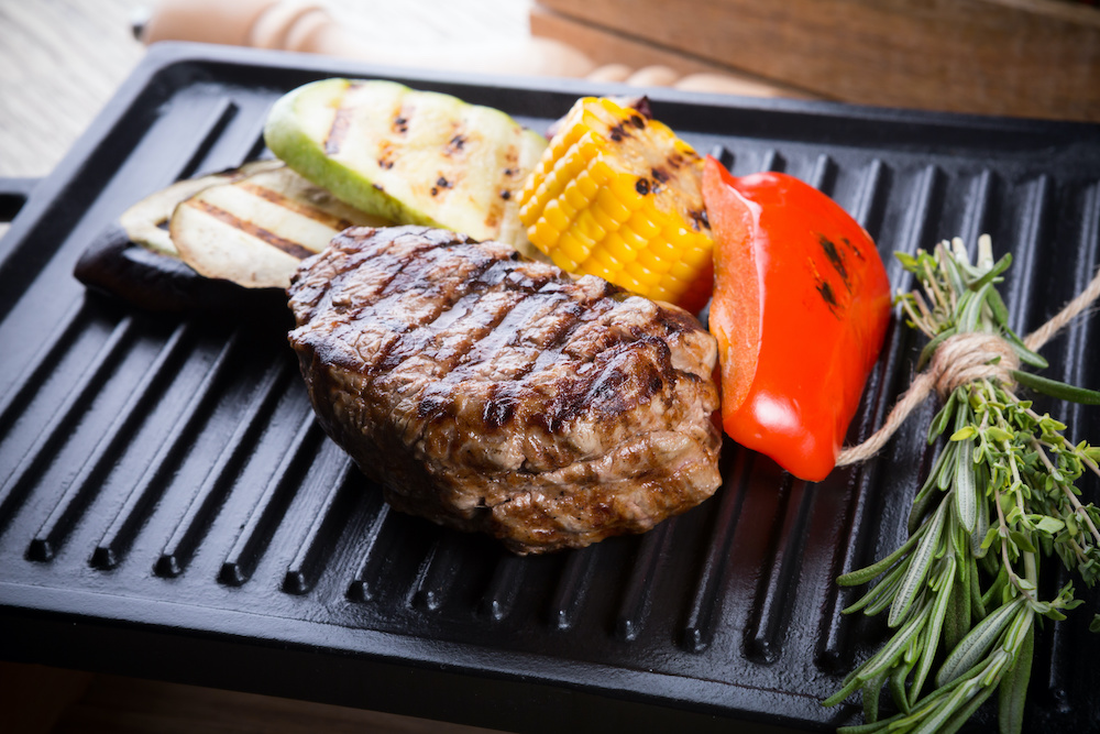 cooking steak on indoor electric grill